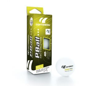 Cornilleau Box of 3 Plastic ABS Evolution ITTF 3 Star 40mm Table Tennis Balls - White